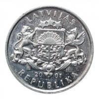 "Латвия 1 лат 2001 г., XF, ""Аист"""