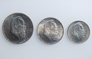 """Бавария набор 2, 3, 5 марок 1911 г., UNC, """"90 лет со дня рождения Луитпольда Баварского"""""""