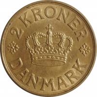 """Дания 2 кроны 1939 г. N, UNC, """"Король Кристиан X (1912 - 1947)"""""""