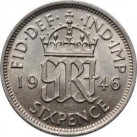 """Великобритания 6 пенсов 1946 г., UNC, """"Король Георг VI (1937 - 1952)"""""""