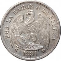 """Чили 1 песо 1881 г. So, XF-AU, """"Республика Чили (1851 - 1898)"""""""