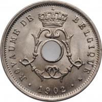 """Бельгия 5 сантимов 1902 г., BU BELGIQUE, """"Король Леопольд II (1865 - 1909)"""""""
