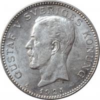 """Швеция 1 крона 1925 г. W, UNC, """"Король Густав V (1908 - 1950)"""""""