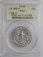 """США 50 центов 1936 г. S, PCGS MS64, """"150 лет городу Колумбия"""""""