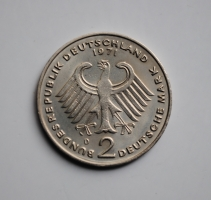ФРГ 2 марки 1971 г. D, 'Конрад Аденауэр, 20 лет Федеративной Республике (1949-1969)'