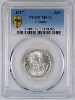 "Ньюфаундленд 25 центов 1917 г. C, PCGS MS62, ""Доминион (1865 - 1949)"""