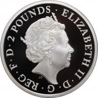 """Великобритания 2 фунта 2018 г., PROOF, """"Звери Королевы - Красный дракон Уэльса"""" /без коробки/"""