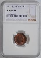 """Гвинея-Бисау 5 сентаво 1933 г., NGC MS64 RB, """"Португальская колония (1933- 1974)"""""""