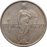 """Люксембург 1 франк 1939 г., XF, """"Великая герцогиня Шарлотта (1918 - 1964)"""""""