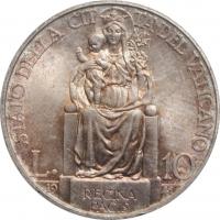 """Ватикан 10 лир 1941 г., BU, """"Папа Пий XII (1939 - 1958)"""""""