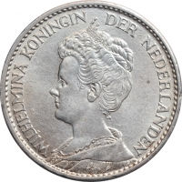 "Нидерланды 1 гульден 1914 г., UNC, ""Королева Вильгельмина (1890 - 1948)"""
