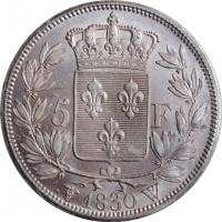 "Франция 5 франков 1830 г. W, AU, ""Король Карл X (1824 - 1830)"""