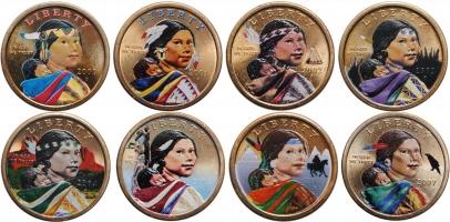 """США 1 доллар 2000-2007 г., BU, """"Индейские племена"""" (цветные тираж 1000 шт.)"""