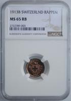 """Швейцария 1 раппен 1913 г. B, NGC MS65 RB, """"Швейцарская Конфедерация (1850 - 1916)"""""""