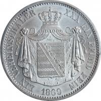 "Саксен-Альтенбург 1 союзный талер 1869 г., UNC, ""Герцог Эрнст I (1853 - 1908)"""