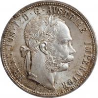 """Австрия 1 флорин 1877 г., BU, """"Император Франц Иосиф I (1848 - 1916)"""""""