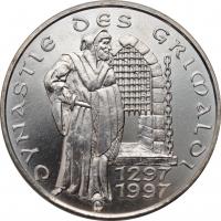 "Монако 100 франков 1997 г., BU, ""700 лет династии Гримальди"""