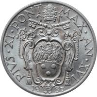 """Ватикан 20 чентезимо 1937 г., BU, """"Папа Пий XI (1929 - 1938)"""""""