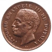 """Италия 1 чентезимо 1908 г., UNC, """"Король Виктор Эммануил III (1900 - 1946)"""""""