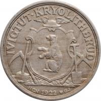 """Гренландия 50 эре 1922 г., UNC, """"Креолитовые шахты Ивигтута"""""""