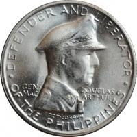 """Филиппины 1 песо 1947 г. S, BU, """"Генерал Дуглас Макартур"""""""