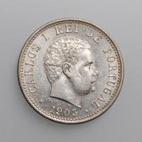 """Индия - Португальская 1 рупия 1903 г., UNC, """"Король Карлуш I (1889 - 1908)"""""""