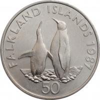 """Фолклендские острова 50 пенсов 1987 г., BU, """"Королевские пингвины"""""""