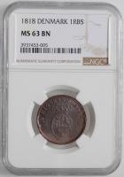 """Дания 1 ригсбанкскиллинг 1818 г., NGC MS63, """"Король Фредерик VI (1806 - 1839)"""""""