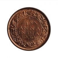 """Индия - Британская 1/12 анна 1939 г., UNC, """"Король Георг VI (1938 - 1947)"""" SECOND HEAD"""