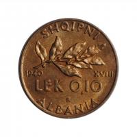 """Албания 0.1 лек 1940 г., BU, """"Итальянская оккупация (1939 - 1943)"""""""