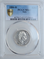 "Италия 1 лира 1886 г. R, PCGS MS62, ""Король Умберто I (1878 - 1900)"""