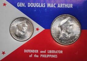 """Филиппины 50 сентаво и 1 песо 1947 г. S, BU, """"Генерал Дуглас Макартур"""""""
