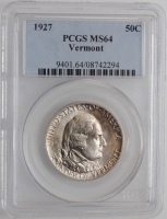 "США 50 центов 1927 г., PCGS MS,64 ""150 лет штату Вермонт"""