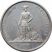"""Швейцария 5 франков 1859 г., UNC, """"Стрелковый фестиваль в Цюрихе"""""""