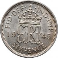 """Великобритания 6 пенсов 1945 г., AU, """"Король Георг VI (1937 - 1952)"""""""