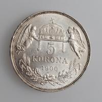 """Венгрия 5 крон 1900 г., UNC, """"Император Франц Иосиф I (1848 - 1916)"""""""