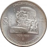 """Мексика 50 песо 1988 г., BU, """"50 лет национализации нефтяной промышленности"""""""