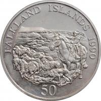 """Фолклендские острова 50 пенсов 1990 г., BU, """"Детский фонд"""""""