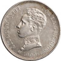"""Испания 2 песеты 1905 г., UNC, """"Король Альфонсо XIII (1886 - 1931)"""""""