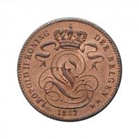 """Бельгия 1 сантим 1887 г. DER, UNC, """"Король Леопольд II (1865 - 1909)"""" KM# 32.2 ТОНКАЯ"""