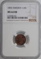 """Швеция 1/6 скиллинга 1855 г., NGC MS64 RB, """"Король Оскар І (1844 - 1859)"""""""