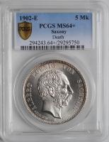 """Саксония 5 марок 1902 г., PCGS MS64+, """"Смерть Альберта Саксонского"""""""