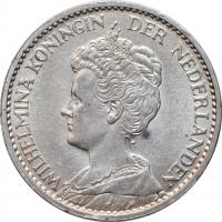 """Нидерланды 1 гульден 1914 г., BU, """"Королева Вильгельмина (1890 - 1948)"""""""