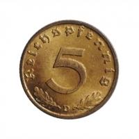 """Германия - Третий рейх 5 рейхспфеннигов 1938 г. D, UNC, """"Нацистская Германия (1933 - 1945)"""""""