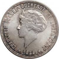 """Люксембург 10 франков 1929 г., BU, """"Великая герцогиня Шарлотта (1918 - 1964)"""""""