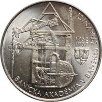 """Чехословакия 100 крон 1987 г., BU, """"225 лет Горной академии в Банска-Штьявница"""""""