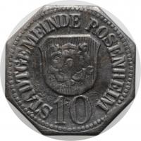 """Бавария - Розенхайм 10 пфеннигов 1918 г., AU, """"Нотгельды Германии (1914 - 1924)"""""""