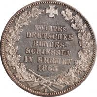 """Бремен 1 талер 1865 г., AU, """"Второй немецкий фестиваль стрельбы"""""""