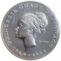 """Монако 10 франков 1982 г., BU Ag ESSAI, """"Смерть принцессы Грейс"""""""
