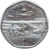 """Остров Мэн 50 пенсов 1985 г. AA, BU, """"Рождество"""""""